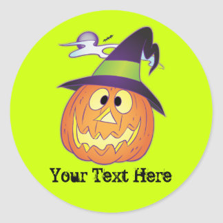 Customizable Halloween Pumpkin Round Sticker