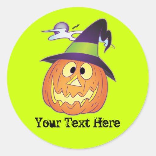 Customizable Halloween Pumpkin Round Sticker