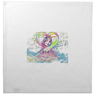 Customizable Heart And 4 Life Digital Drawing Napkin