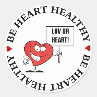 Customizable Heart Healthy Slogan Sign Round Sticker
