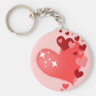 Customizable Hearts Basic Round Button Key Ring