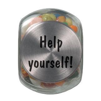 "Customizable ""Help yourself!"" Glass Candy Jar"