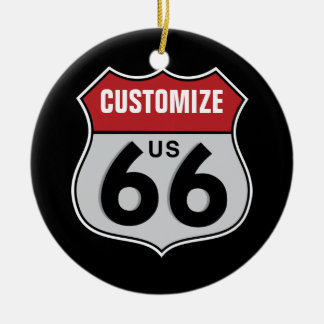 Customizable Highway 66 Ceramic Ornament