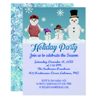 Customizable Holiday Party celebration snow family Card