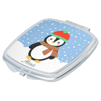 Customizable Holiday Penguin Compact Mirrors