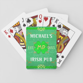 Customizable Home Bar: Green Irish Pub Playing Cards