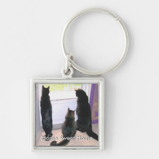 Customizable Home Sweet Home Kitty Keychain Silver-Colored Square Keychain