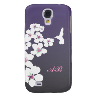 Customizable: Hummingbird and blossom on purple Samsung Galaxy S4 Covers