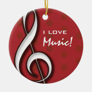 Customizable I Love Music Ornament