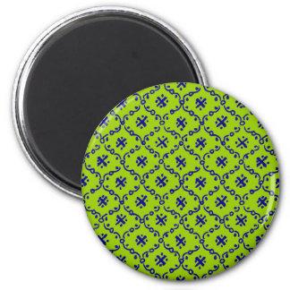 Customizable India Block Print 6 Cm Round Magnet