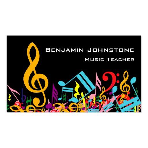 Customizable Jumbled Musical Notes Business Cards
