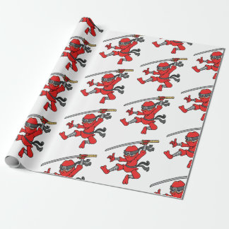 Customizable Jumping Ninja Design Wrapping Paper