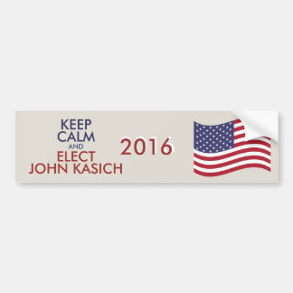 Customizable Keep Calm And Elect JOHN KASICH Bumper Sticker