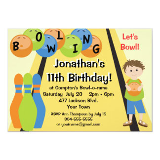 Customizable Let's Go Bowling Birthday Party Personalized Invitations