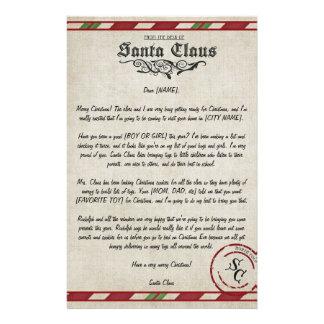 Customizable Letter From Santa Custom Stationery