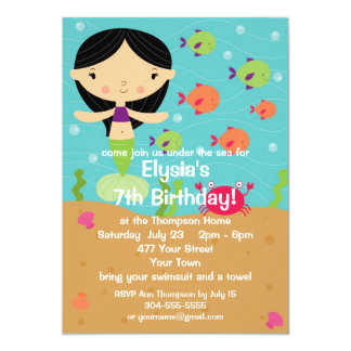 Customizable Little Girl Mermaid Birthday Party Personalized Announcement