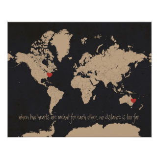 Customizable Love & Distance World Map Poster