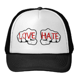 Customizable LOVE HATE Fists Hats