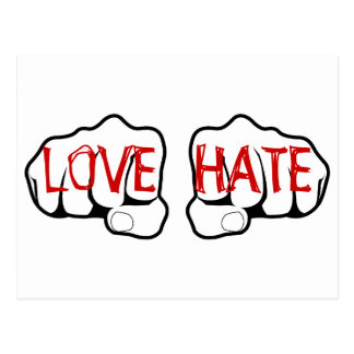 Customizable LOVE HATE Fists Postcards