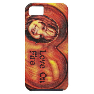 Customizable Love On Fire Heart Design Case For The iPhone 5