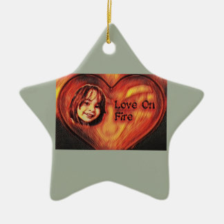 Customizable Love On Fire Heart Design Ceramic Ornament