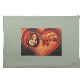 Customizable Love On Fire Heart Design Placemat