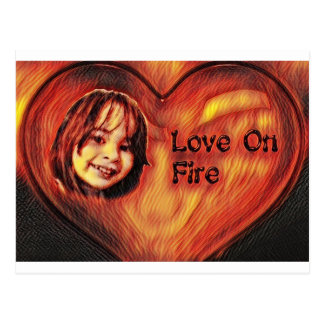 Customizable Love On Fire Heart Design Postcard