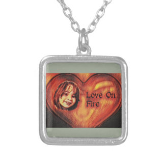 Customizable Love On Fire Heart Design Silver Plated Necklace