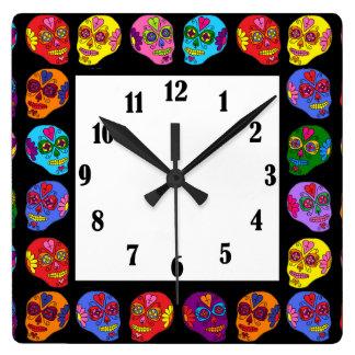Customizable Lucha Libre Sugar Skulls Wall Clocks