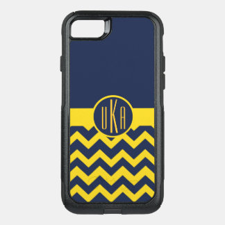 Customizable Maize and Blue Monogram OtterBox Commuter iPhone 8/7 Case