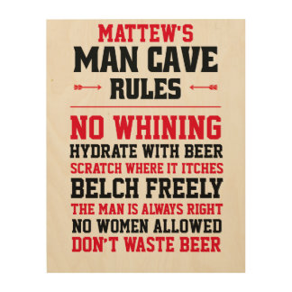Customizable Man Cave Rules Wood Print