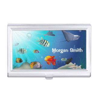 Customizable Marine Life Scene Business Card Holder