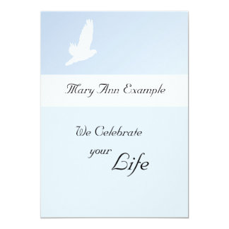 "Customizable Memorial / Wake / Living Funeral 5"" X 7"" Invitation Card"