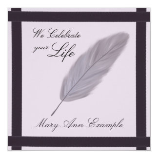 "Customizable Memorial / Wake / Living Funeral 5.25"" Square Invitation Card"