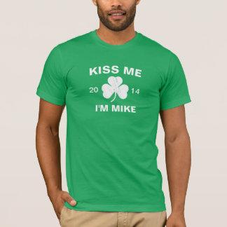 Customizable Men's Kiss Me I'm Mike Shamrock T-Shirt