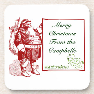 Customizable Merry Christmas Coasters