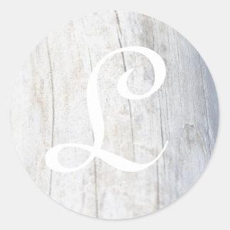Customizable Monogram Driftwood Classic Round Sticker
