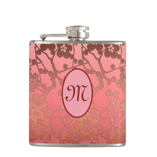 Customizable monogram Flask, pinks and rustic gold Hip Flask