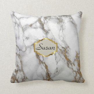 Customizable monogram Throw Pillow, marble gold Throw Pillow