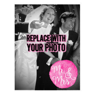 "Customizable ""Mr. & Mrs."" Wedding Photo Postcard"