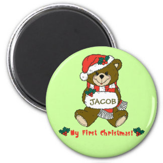 Customizable My First Christmas Teddy Bear Tee 6 Cm Round Magnet
