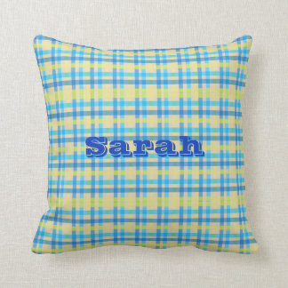 Customizable Name Blue and Yellow Gingham Pillow