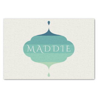 Customizable Name Blue Ombre Bracket Tissue Paper