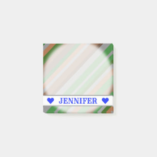Customizable Name - Green, Brown and Grey Stripes Post-it Notes