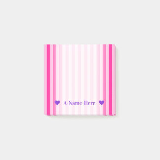 Customizable Name + Light Pink & Deep Pink Stripes Post-it Notes