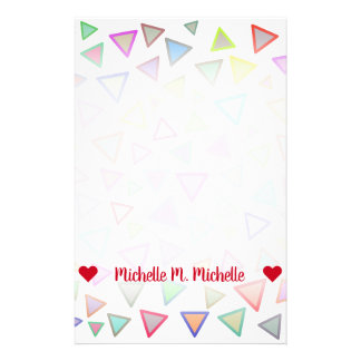 Customizable Name; Multicolored Triangles Pattern Stationery