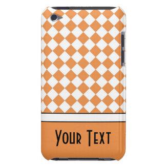 Customizable Name Peach Orange White Diamond Check iPod Touch Case