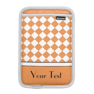Customizable Name Peach Orange White Diamond Check Sleeve For iPad Mini