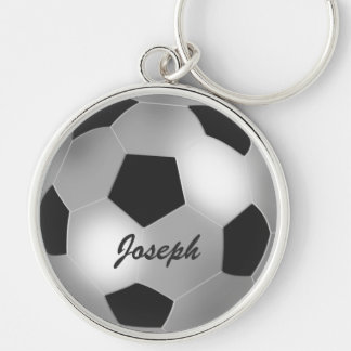 Customizable name silver Soccer Ball keychains
