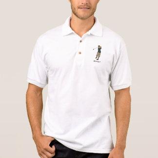 Customizable name Vintage look Golfer Golf polo